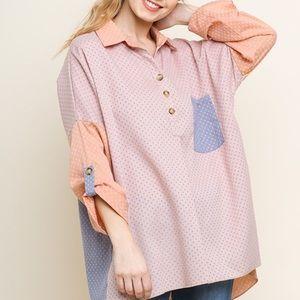 Polka dot color block blouse